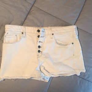 High rise white cut offs